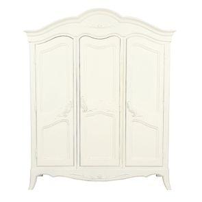 Armoire penderie blanche 3 portes en bois - Lubéron