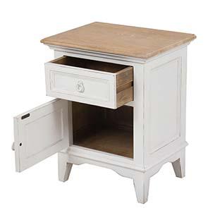 Table de chevet en pin massif blanc - Esquisse - Visuel n°2