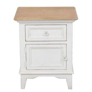 Table de chevet en pin massif blanc - Esquisse - Visuel n°1