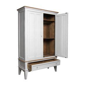 Armoire penderie blanche 2 portes en pin massif - Esquisse - Visuel n°2