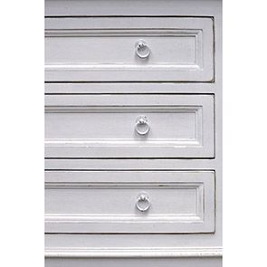 Commode blanche 3 tiroirs en pin massif - Esquisse - Visuel n°6
