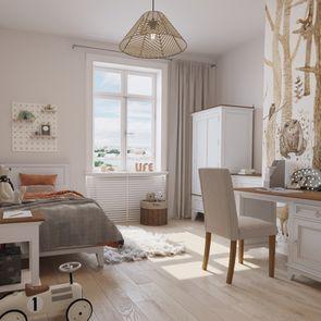 Table de chevet blanche en pin massif - Esquisse - Visuel n°3