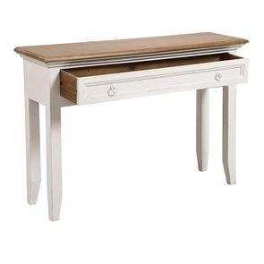 Console 1 tiroir en pin massif blanc vieilli - Esquisse - Visuel n°3