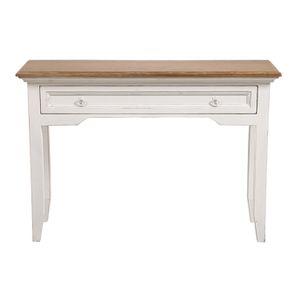 Console 1 tiroir en pin massif blanc vieilli - Esquisse - Visuel n°1