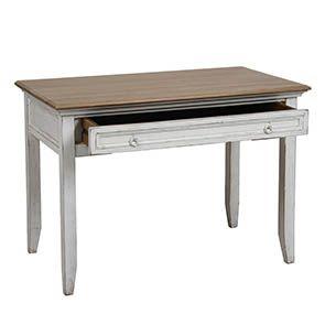 Bureau blanc 1 tiroir en pin massif - Esquisse - Visuel n°3