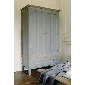 Armoire penderie grise 2 portes en pin massif - Esquisse - Visuel n°3