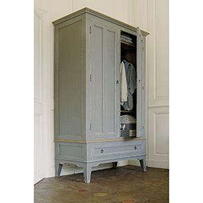 Armoire grise 2 portes en pin massif - Esquisse