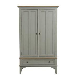 Armoire penderie grise 2 portes en pin massif - Esquisse - Visuel n°1