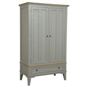 Armoire penderie grise 2 portes en pin massif - Esquisse - Visuel n°4