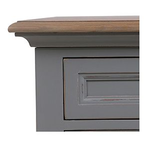 Bureau gris clair 1 tiroir en pin massif - Esquisse - Visuel n°3