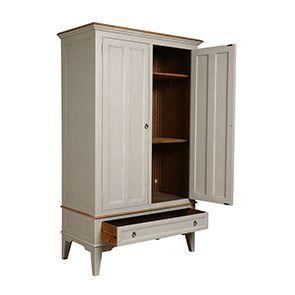 Armoire penderie 2 portes en pin gris plume vieilli - Esquisse - Visuel n°2