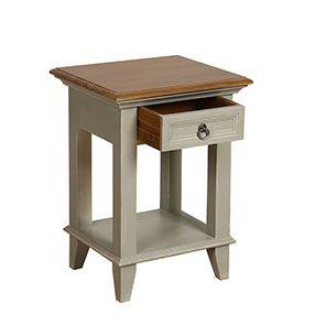 Table de chevet 1 tiroir en pin gris plume vieilli - Esquisse - Visuel n°2