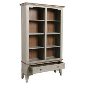 Bibliothèque gris plume en pin massif - Esquisse - Visuel n°3