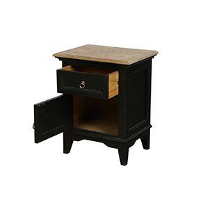 Table de chevet noire en pin massif - Esquisse - Visuel n°3