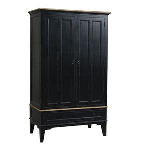 Armoire penderie noire 2 portes en pin massif - Esquisse - Visuel n°1