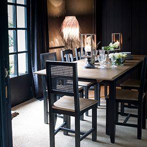 Chaise cannée en pin massif noir - Esquisse - Visuel n°5