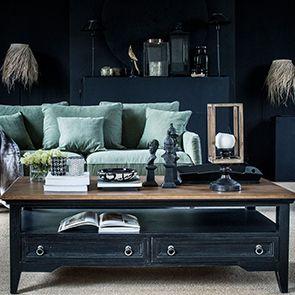 Table basse noire rectangulaire en pin - Esquisse - Visuel n°4