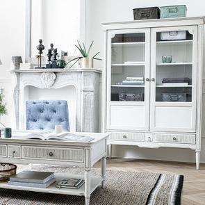 Table basse 4 tiroirs en pin blanc craie - Montaigne - Visuel n°3