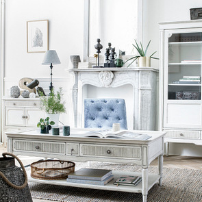 Table basse 4 tiroirs en pin blanc craie - Montaigne - Visuel n°4