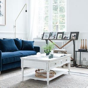 Table basse 4 tiroirs en pin blanc craie – Montaigne - Visuel n°5