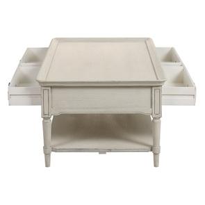 Table basse 4 tiroirs en pin blanc craie – Montaigne - Visuel n°14