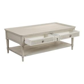 Table basse 4 tiroirs en pin blanc craie - Montaigne - Visuel n°7