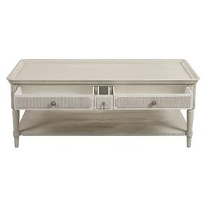 Table basse 4 tiroirs en pin blanc craie - Montaigne - Visuel n°8