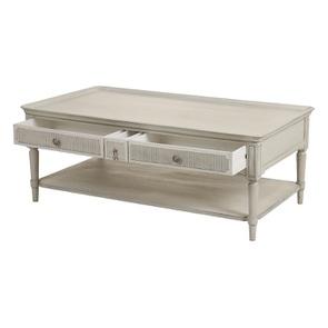 Table basse 4 tiroirs en pin blanc craie - Montaigne - Visuel n°9