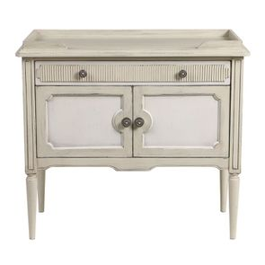 Commode 2 portes 1 tiroir en pin blanc craie - Montaigne