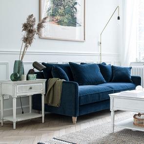 Bout de canapé 1 tiroir en pin blanc craie – Montaigne - Visuel n°3