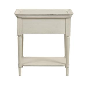 Bout de canapé 1 tiroir en pin blanc craie – Montaigne - Visuel n°17