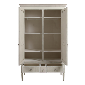 Armoire 2 portes 3 tiroirs en pin blanc craie – Montaigne - Visuel n°3