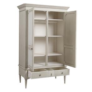 Armoire 2 portes 3 tiroirs en pin blanc craie – Montaigne - Visuel n°4