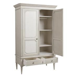Armoire 2 portes 3 tiroirs en pin blanc craie – Montaigne - Visuel n°5