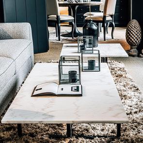 Table basse rectangulaire en marbre blanc – Minéral - Visuel n°4