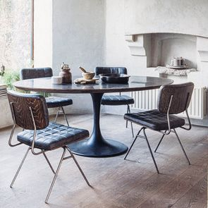 Chaise en métal et cuir - Minéral - Visuel n°4