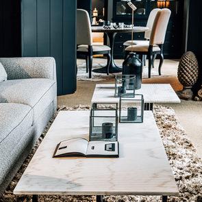 Bout de canapé plateau en marbre blanc - Minéral - Visuel n°3