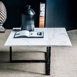 Bout de canapé plateau en marbre blanc - Minéral - Visuel n°6