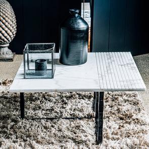 Bout de canapé plateau en marbre blanc - Minéral - Visuel n°7
