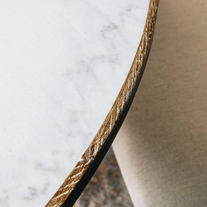 Table ronde plateau en marbre blanc - Minéral - Visuel n°4