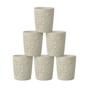 Photophores en porcelaine blanche (lot de 6)