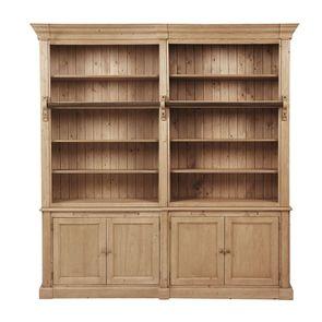 Bibliothèque ouverte 4 portes en épicéa naturel cendré - Natural