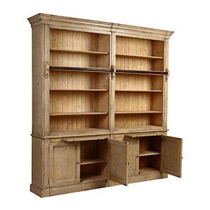 Bibliothèque ouverte 4 portes en épicéa naturel cendré - Natural - Visuel n°2