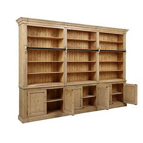 Bibliothèque ouverte 6 portes en épicéa naturel cendré - Natural - Visuel n°2