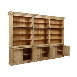 Bibliothèque ouverte 6 portes en épicéa naturel cendré - Natural - Visuel n°3