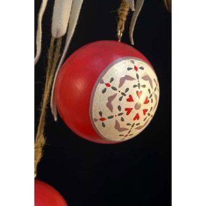 Boules en bois rouge (lot de 6)