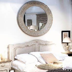 Grand miroir rond en bois