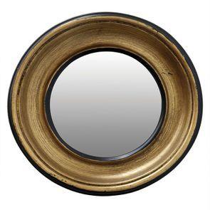 Miroir rond de sorcière doré