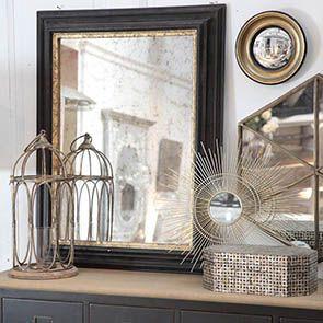 Miroir en bois noir et doré