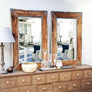 Miroir bois et métal chromé